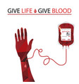 blood donation and blood transfusion concept vector image vector image