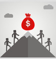 business people climb the mountain to the bag vector image vector image