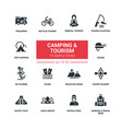 camping and tourism - line design silhouette icons vector image