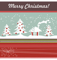 Cartoon Christmas card with xmas tree vector image vector image