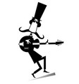 cartoon long mustache guitarist is playing music i vector image vector image