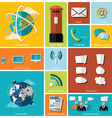 Communication And Connection Flat Icon Set vector image vector image
