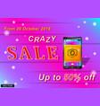 crazy sale smartfon vector image vector image