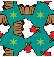 cream vanilla choco cake seamless pattern vector image vector image