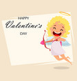 cupid holds love bow and arrow vector image vector image