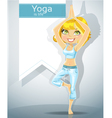 cute blonde in a yoga pose 1 vector image vector image