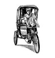 drawing tricycle man in india vector image vector image