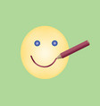 drawn smile by red pencil on yellow emoticon vector image