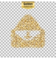 Gold glitter icon of envelope isolated on vector image vector image