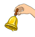 hand ring bell pop art vector image vector image