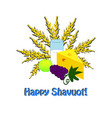 happy shavuot hebrew wheat barley milk cheese vector image
