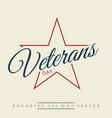 happy veterans day letter vintage style emblem vector image vector image