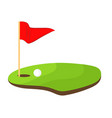 hole golf with red flag and white ball stock vector image
