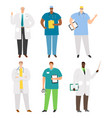 international doctors and staff set vector image vector image