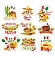 labels set for cinco de mayo vector image vector image