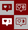 like and comment sign bordo and white vector image vector image