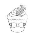 little delicious creamy cupcake vector image vector image