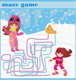 maze game - fun in the winter day vector image vector image