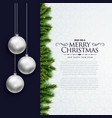 merry christmas elegant card design with hanging vector image vector image
