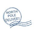 north pole delivery stamp vector image vector image