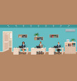 office room interior with three workplaces vector image vector image