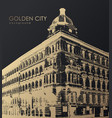 old golden building art vector image vector image