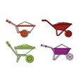 one wheel barrow icon set color outline style vector image vector image