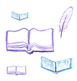 Opened for reading a book with a quill pen vector image vector image