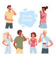 people drink water set bearded man guy holding vector image vector image