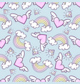 seamless pattern with donuts rainbow heart with vector image vector image