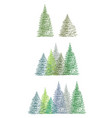 set of colorful hand drawing christmas tree vector image
