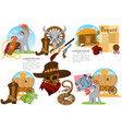 set on theme wild west clothing vector image vector image