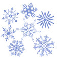 set snowflakes isolated on a white background vector image vector image