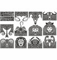 set zodiac signs icons vector image vector image