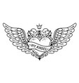 tattoo flying heart with crown and forged ornament vector image vector image