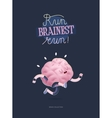 Train your brain poster with lettering running vector image vector image