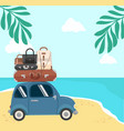 traveling by mini car on summer beach vector image