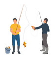 two fishers with haul isolated on white banner vector image vector image