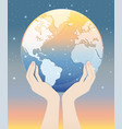 two hands hold up world with starry sky vector image vector image