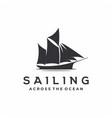 vintage sailing ship silhouette logo design vector image vector image