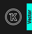 white line kelvin icon isolated on black vector image vector image