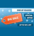 winter end of season sale concept background vector image