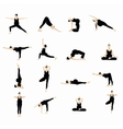 Yoga postures silhouette set vector image vector image