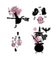young happy and attractive witches stickers vector image