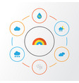air flat icons set collection of storm bow drop vector image