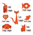 trendy animals logo in origami style vector image