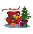 Happy Family woman parent and kid celebrating vector image
