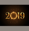 2019 new year shiny golden sparkles background vector image vector image