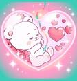 adorable teddy bear girl inside mommys belly vector image