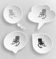 Armchair White flat buttons on gray background vector image